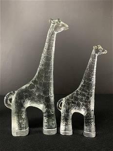 2 Kosta Boda Art Glass Zoo Series, Giraffes