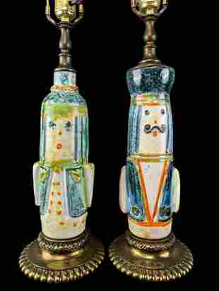 Pair Mid Century Figural Pottery Lamps