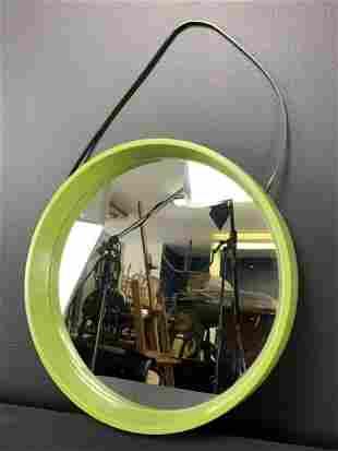 Mid Century Avocado Green Wall Mirror, Denmark