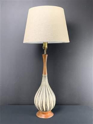 Mid Century Teak Ceramic Upsala Ekeby Table Lamp