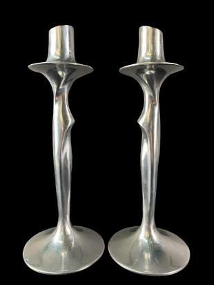 Dan Mehlman Modernist Aluminum Candlesticks