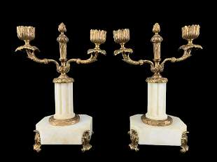 Antique French Empire Bronze Marble Candle Holders
