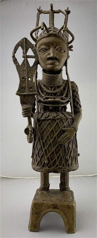 African Benin Bronze Oba Figure On Pedestal