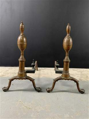 Pair 19th C Bronze Ball And Claw Andirons
