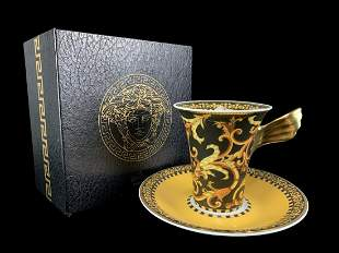 Rosenthal Versace Barocco Cup And Saucer In Box
