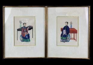 Pair Antique Chinese Rice Paper Painted Portraits
