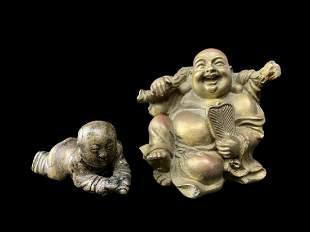 Lot Chinese Bronze Figures, Buddhas