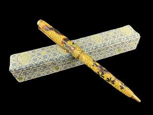 Chinese Yellow Cloisonne Ball Point Pen In Box