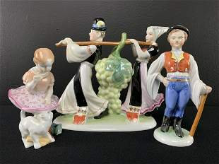 Lot 3 Herend Hungary Painted Porcelain Figurines