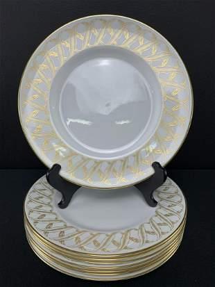 Set 8 Royal Worcester Golden Sheaf Dinner Plates