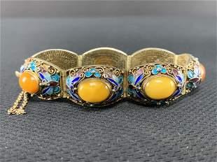 Chinese Export Silver Vermeil Cloisonne Bracelet