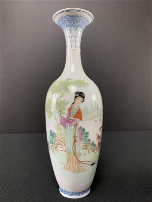 Chinese Egg Shell Porcelain Vase, Figural Painting