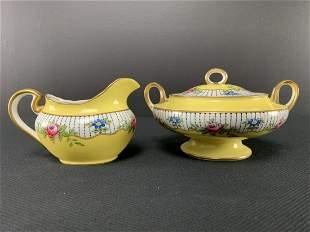 Aynsley England Porcelain Cream Sugar Bowl Yellow