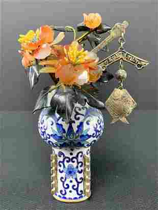 Chinese Cloisonne Jade Tree Vase Silver Ornament