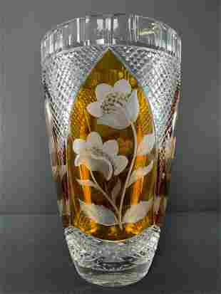 Polish Cut To Clear Amber Floral Vase