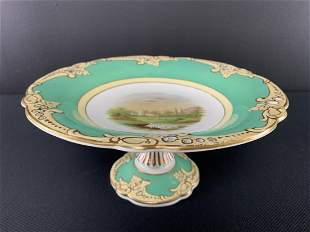 English Porcelain Hand Painted Footed Serving Dish