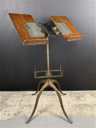 Victorian Dictionary Bible Book Stand Iron And Oak