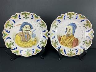 Pair 19th C French Faience Plates