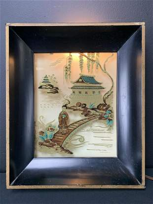 Chinese Reverse Painted Electrolite Wall Lamp