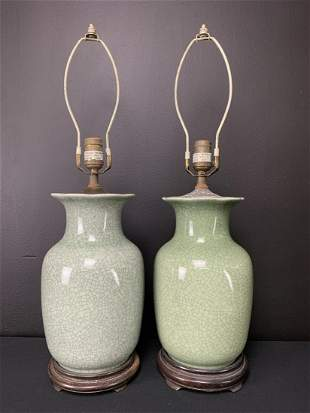 2 Chinese Crackle Glaze Ceramic Table Lamps