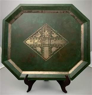 Christofle Art Deco Verdigris Copper & Silver Tray