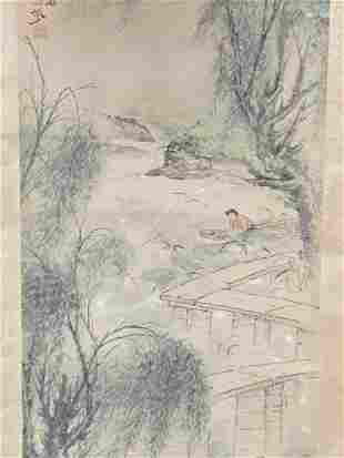 Chinese Painting On Paper, Landscape With Figures