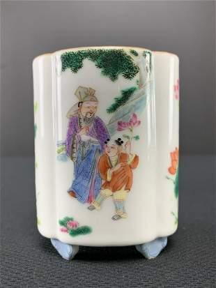 Chinese Porcelain Enameled Lobed Brush Pot
