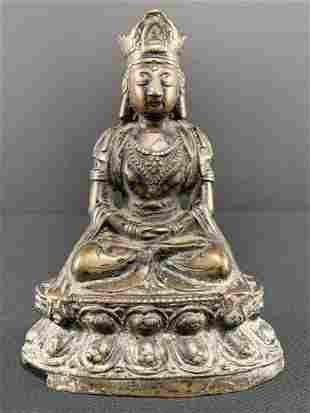 Antique Chinese Or Tibetan Bronze Guan Yin