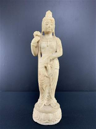 Large Chinese Carved Limestone Standing Guan Yin