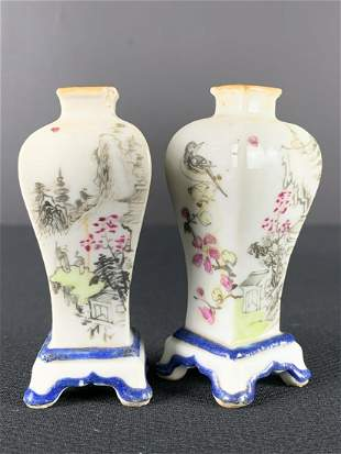 Pair Antique Chinese Qianjiang Mini Cabinet Vases