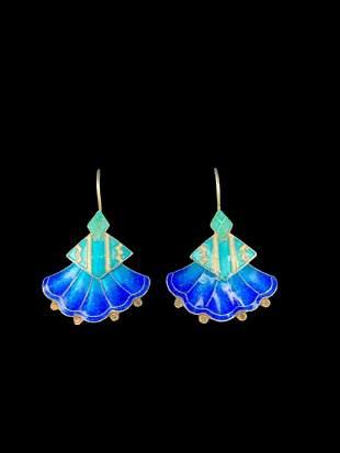 Chinese Silver And Enamel Fan Shaped Earrings