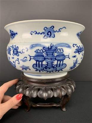 Large 18th C Chinese Blue And White Basin