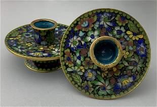 Antique Chinese Gilt Cloisonne Bronze Candlesticks