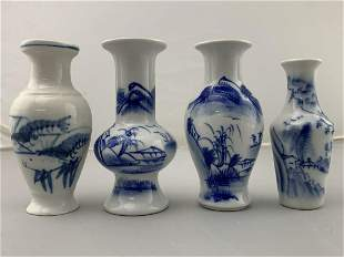Lot Of 4 Chinese Blue And White Cabinet Vases