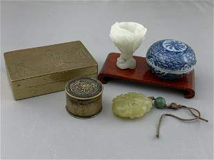 Lot Of 5 Pcs Chinese Jade And Porcelain, Bronze