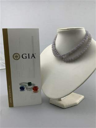 G I A Certified Natural Chinese Lavender Jade Neck