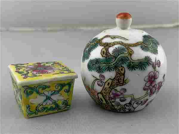 Two Antique Chinese Miniature Covered Pots