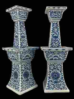 Pair Antique Chinese Porcelain Candlesticks