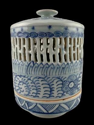 Antique Chinese Blue And White Ceramic Lantern