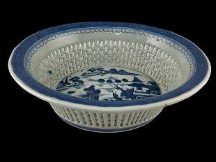 Chinese Export Blue And White Pierced Work Basket