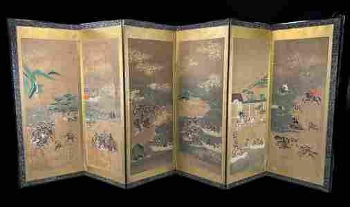 Edo Period Japanese Screen, Samurai Battle Scene