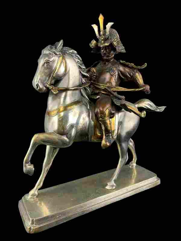 Silver Plated Gilt Bronze Samurai On Horseback