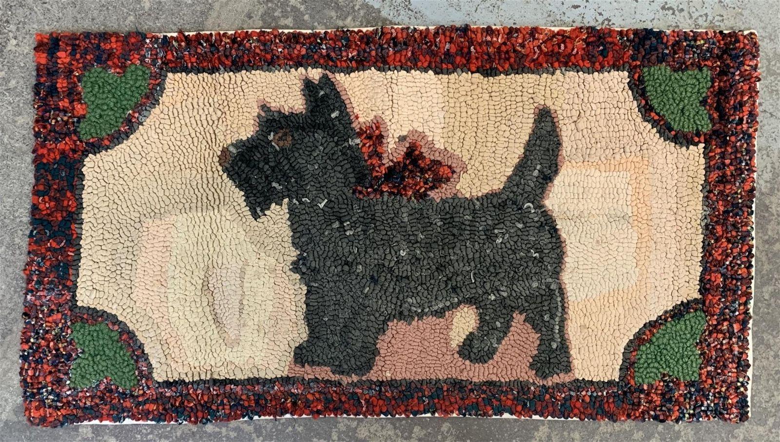 Antique Folk Art Scotty Dog Hooked Rug