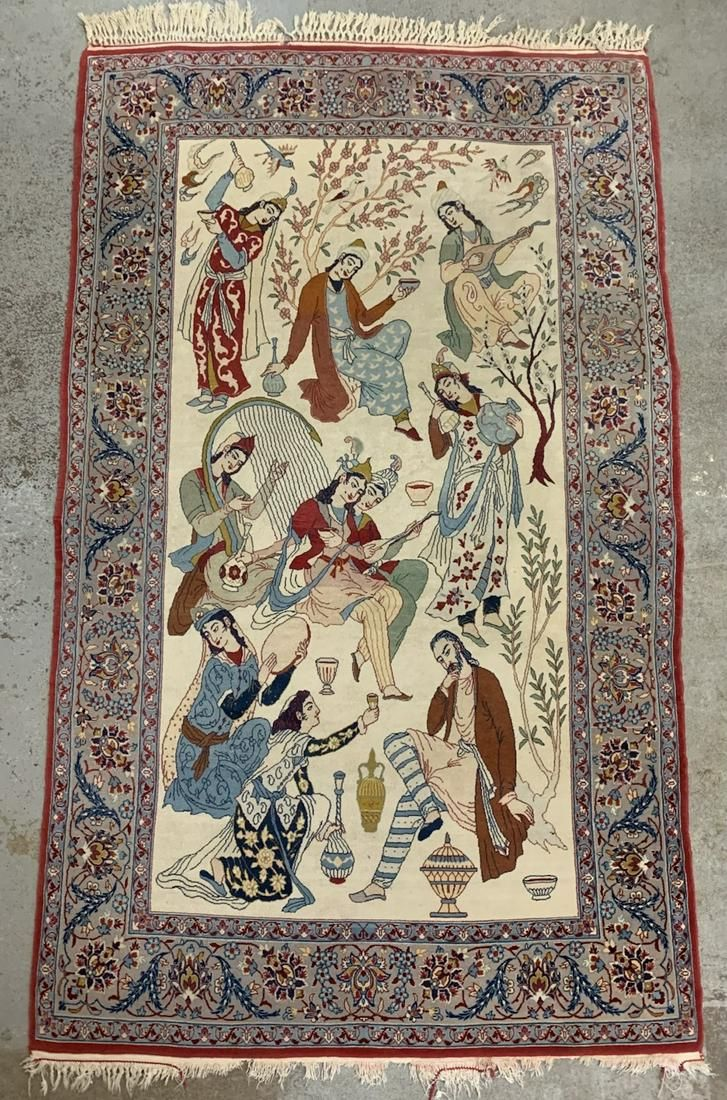 Pictorial Isfahan Rug, Wool On Silk Foundation