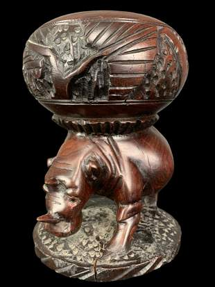 Finely Carved Mahogany African Rhino Bowl