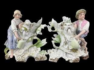 Pair C. 1880 Unger Schneider Bisque Figural Vases