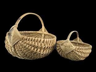 2 Antique Woven Splint Oak Baskets