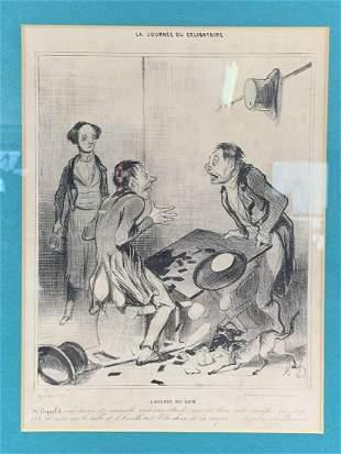 Honore Daumier 19th C 5 Heures Du Soir Lithograph