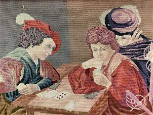 19th C Caravaggio Card Players Tapestry