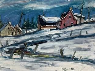 Pierre Bedard Winter Scene Oil On Board